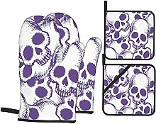 4Pcs Oven Mitts and Pot Holders Sets,Hand Drawn