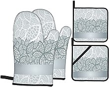 4Pcs Oven Mitts and Pot Holders Sets,Luxury Silver