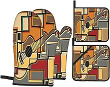 4Pcs Oven Mitts and Pot Holders Sets,Music Funky