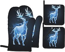 4Pcs Oven Mitts and Pot Holders Sets,Patronus