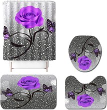 4pcs purple pink bathroom shower curtain set non