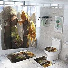 4pcs Shower Curtain Set with 12 Hooks, Anime