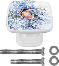 4Pcs Square Drawer Knobs Crystal Glass Bird