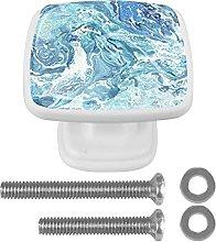 4Pcs Square Drawer Knobs Crystal Glass Marbling5