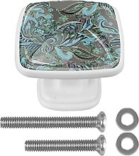 4Pcs Square Drawer Knobs Crystal Glass Paisley18