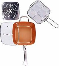 4Pcs Square Non-Stick Frying Pan Set, Copper Color