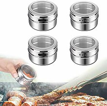 4pcs Stainless Steel Magnetic Spice Jar, Kitchen