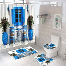 4pcs Sunflower Shower Curtain Sets , Curtain and