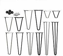 4pcs Table Legs, Hairpin 10mm Dia. Metal Steel