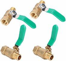 4Pcs Water Pipe Valve, Brass Drain Shut Off Valve,