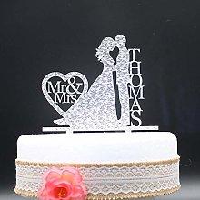4PCS Wedding Cake Topper Acrylic Silver Gold
