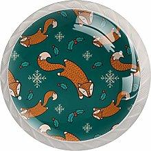 4PCS White Drawer Knobs Orange Foxes Snowflakes