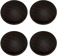 4pcs Wooden Cabinet Knobs,Door Handle Pulls Black