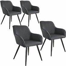 4x Accent Chair Marylin - dark grey/black