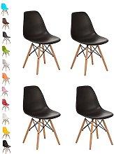 4x BLACK COMO Eiffel Dining Chair Plastic Wooden