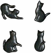 4X Cast Iron Matt Black Cat Shaped Cupboard Drawer