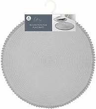 4X Grey Round Pom Pom Placemats Homcomodar Round