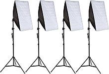 4x Photography lighting + softbox model 1 - black