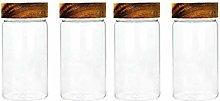 4X550ML Glass Airtight Storage Jar, Kitchen Food