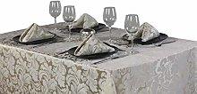 4YH Textiles Cadiz Champagne Damask Effect 8 Place
