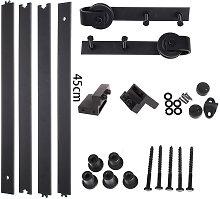 5.9FT Black Barn Pulley Door Hardware Kit Sliding