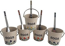 5 Egg Cup and Spoon Set (blue red orange turquoise