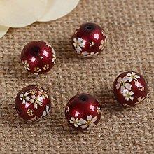 5 Japanese Tensha Glass Beads - 12mm - Burgundy