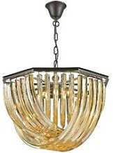 5 Light Ceiling Pendant Black Chrome, Champagne
