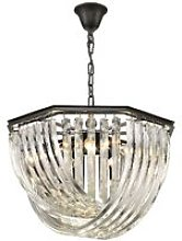 5 Light Ceiling Pendant Black Chrome, Clear with