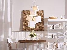 5-Light Cluster Pendant White Lamp Square Fabric