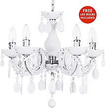 5 Light Dual Mount Chandelier Marie Therese White,
