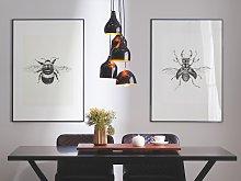 5 Light Pendant Lamp Black Metal Modern Cluster