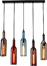 5-Light Vintage Industrial Colored Glass Pendant