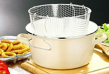 5 Litre Enamel Cream Deep Fat Fryer Chips Pot