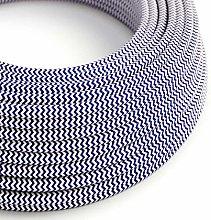 5 Metres - Blue & White Herringbone Zig Zag 3 Core
