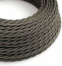 5 Metres - Dark Grey 3 Core Vintage Retro Braided