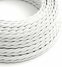 5 Metres - White 3 Core Vintage Retro Braided