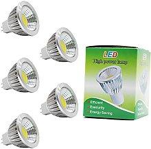 5 Pack 3W MR16 GU5.3 LED Bulbs, 20W Halogen Bulbs