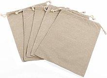 5 Pack Organic Linen Reusable Muslin Bags Food