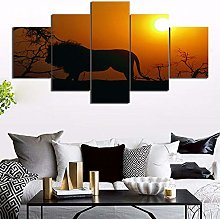5 Paintings On Canvas Art Painting Print Lion Wall