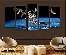 5 Paintings On Canvas Artificial Satellite Art