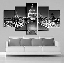 5 Paintings On Canvas Black And White Mosque