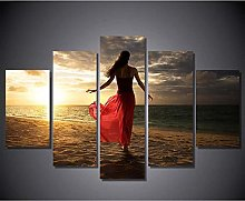5 Paintings On Canvas Canvas Art Female Print Wall