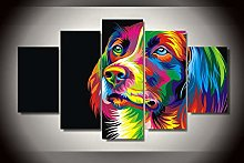 5 Paintings On Canvas Dog'S Colorful Art