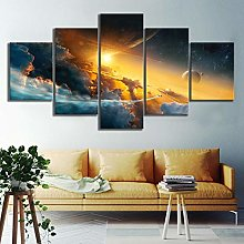 5 Paintings On Canvas Fantasy Landscape Space