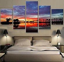 5 Paintings On Canvas Hawaiian Print Art Canvas