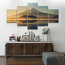 5 Paintings On Canvas Japanese Print Canvas Lake