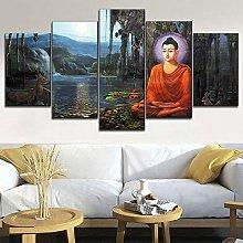 5 Paintings On Canvas Lake View Image Nagarjuna