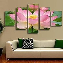 5 Paintings On Canvas Pink Lotus Print Canvas