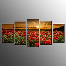 5 Paintings On Canvas Print Poster Painting Sunset